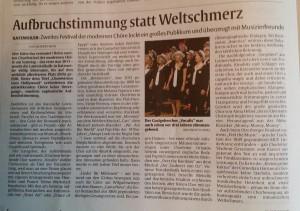 Chorovision Bericht Rheinpfalz 8.11.16